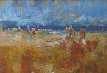 Andrew Hood Original Mixed Media Painting Summer Fun